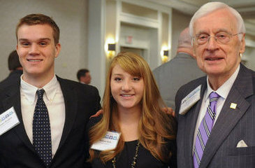 Brandon Wimbish (left), Madison Wells (center) and Gov. Gerald Baliles (right)
